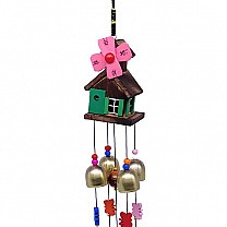 Wooden House Design Decorative Wind Chime 23'' - Pink