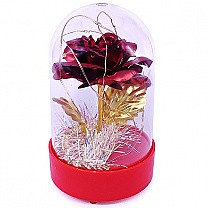 Artificial Red Foil Rose Decorated With Lights 5.5''