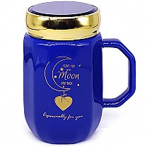 ''Love You To The Moon & Back'' Printed Blue Ceramic Mug