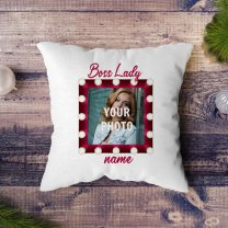 ''Boss Lady'' Personalized Cushion Gift (Photo & Name)