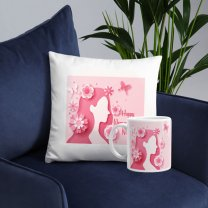 ''Happy Women's Day'' Printed Personalized Cushion & Coffee Mug