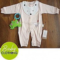 Cotton Jumpsuit For Baby - Pink (3-9 Months)