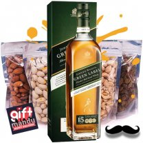 JW Green Label Whisky 750ml & Four Dry Nuts Fruits Pack