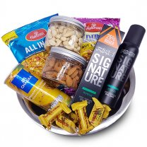 Gift Hamper Tray with Dry Nuts, Namkeens, Chocolates, Juice, Fragrance