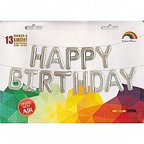 Silver Air Fill 'Happy birthday' Foil Balloon Banner (Large)