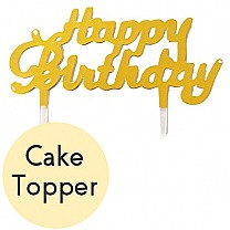 Mini ''Happy Birthday'' Cake Topper - Golden