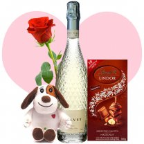 Calvet Celebrations Sparkling White Wine, Lindt Chocolate, Cutey Puppy and Free Rose
