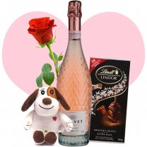 Calvet Celebrations Sparkling Rose Wine, Lindt Chocolate, Cutey Puppy and Free Rose