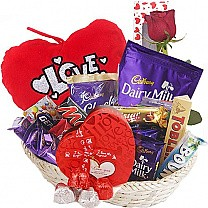 Red Heart Pillow Chocolates Love Basket (20 Items)