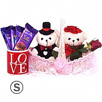 Couple Teddy With Chocolates & Mug in Basket