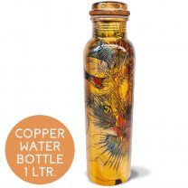 Pure Copper Water Bottle Printed Design (01) - 1 Litre