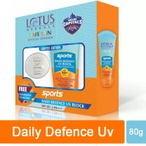 Lotus Herbals Safe Sun Sports Daily-Defence UV Block SPF 50+ (With Autographed Cricket Ball) Gift Pack