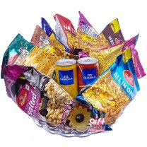 Savory Namkeens and Can Juice Snack Hamper Tray