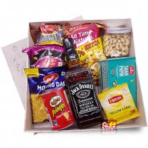 Jack Daniel's Tennessee Whiskey Snack Gift Box (Namkeens, Nuts & Whisky)