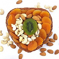 Dry Nuts & Fruits Heart Bamboo Mini Basket (Healthy Bites)