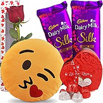 Kissing Emoji Cushion with Chocolates Hamper
