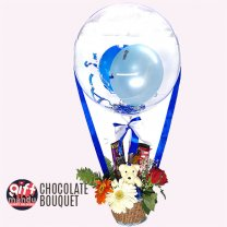 Bobo Balloon Parachute Chocolate Bouquet To Surprise Her