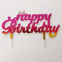 Mini ''Happy Birthday'' Cake Topper - Pink & Red