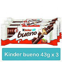 Kinder Bueno 43g X 3 Chocolate Bars (With Milk & Hazelnut)