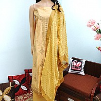 Kurta Piece - Embriodered Tops With Golden Shawl