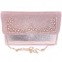 Rose Gold Glittery Party Clutch Purse For Women