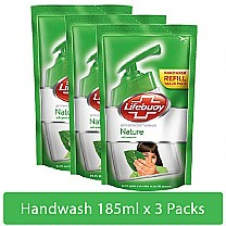 Lifebuoy Germ Protection Natural Handwash Refill 185ml X 3Pcs