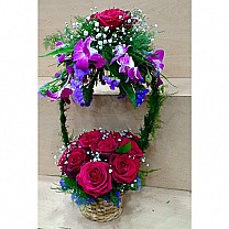 12 Red Rose With Purple Orchid Arranged in Special Basket