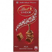 Lindt Lindor Milk Swiss Chocolate 100g (18 Individual Pieces)
