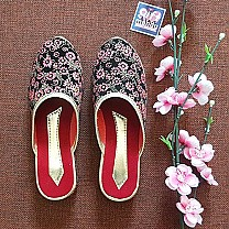 Ladies Makhamali Printed Flat Slipper Red