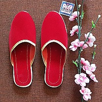 Ladies Makhamali Flat Slipper Red