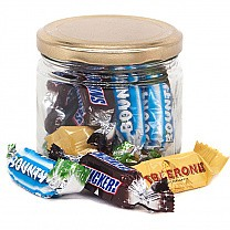 Glass Candy Jar With Miniature Chocolates