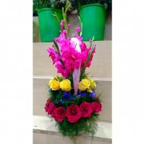 Pink Gladious With Mix Roses Beautifully Decorated in Basket