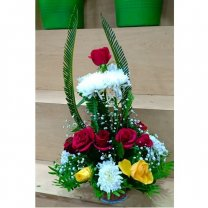Mix Color Roses With White Godawari in Basket