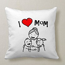 """I Love Mom"" Printed Cushion"