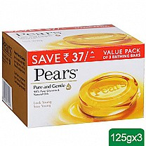 Pears Pure and Gentle Value Pack of 3 Bathing Soap Bars 125g each