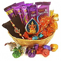 Chocolate Basket With Ganesh Ji & Rakhi Thread