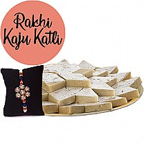 Rakhi With Kaju Katli Barfi