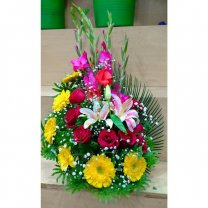 Red Roses, Yellow Gerbera, Pink Glad & lily Arranged in Basket