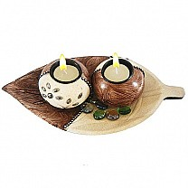 Beautiful Two Round Candle Holder With Leaf Shaped Wooden Plate
