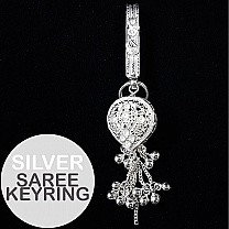 Traditional Party Wear Silver Saree Keyring