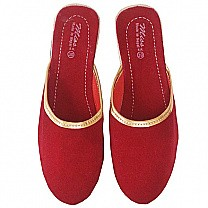 Ladies Makhamali Slipper Maroon