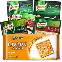 Assorted Soup (5 Flavors) and Crackers (6 Items)