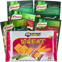 Assorted Soup (5 Flavors) and Wheat Crackers (6 Items)