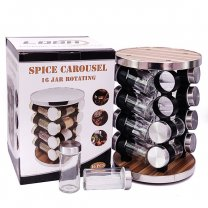 16 Jar Rotating Spice Carousel - 10.5'' Tall