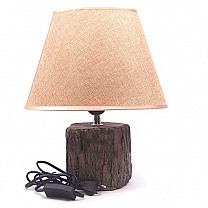 Round Shaped Wooden Base Table Lamp