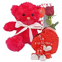 Love Red Teddy Bear with Rose & Chocolates