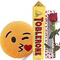 Kissing Emoji Cushion with Toblerone & Rose