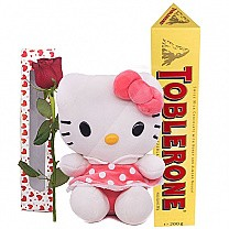 Adorable Kitty with Toblerone Chocolate & Rose