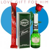 Brut Classic Perfume, Lindt Lindor Stick Chocolate (With Free Rose) for Him
