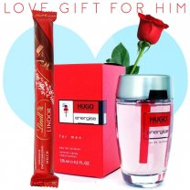 Hugo Boss Energise Perfume, Lindt Lindor Stick Chocolate (With Free Rose) for Him